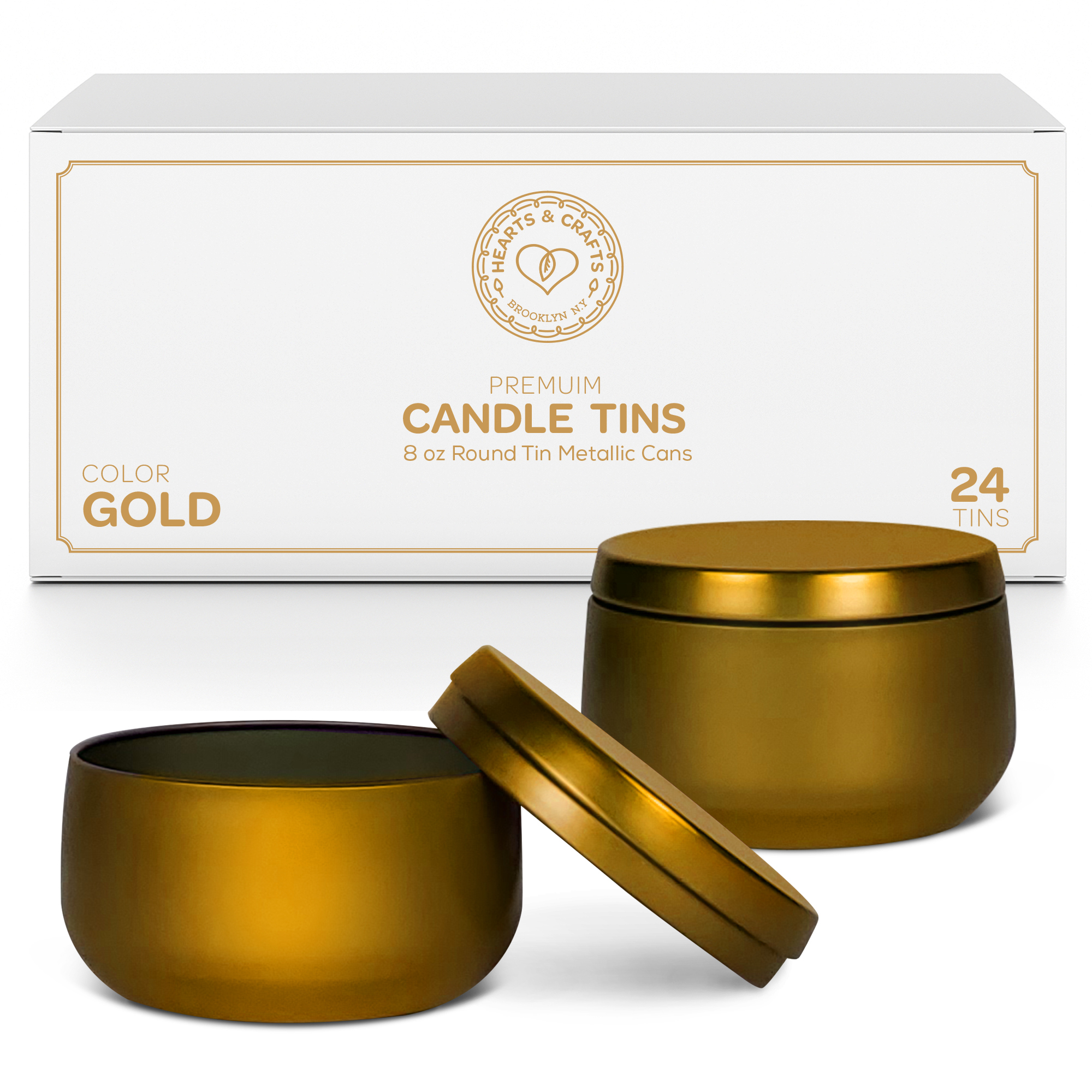 8oz Gold Candle Tins – 24 Count