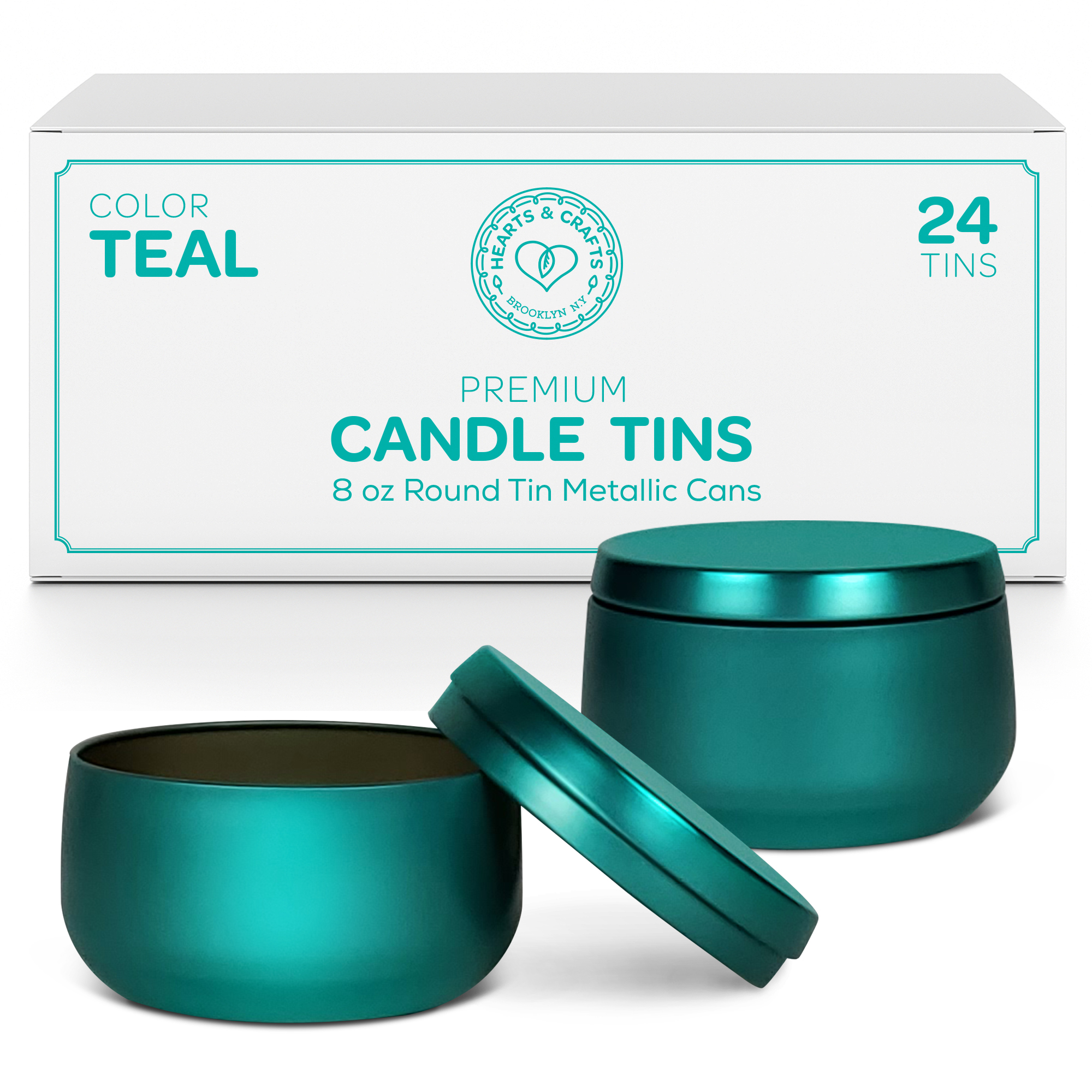 8oz Teal Candle Tins – 24 Count