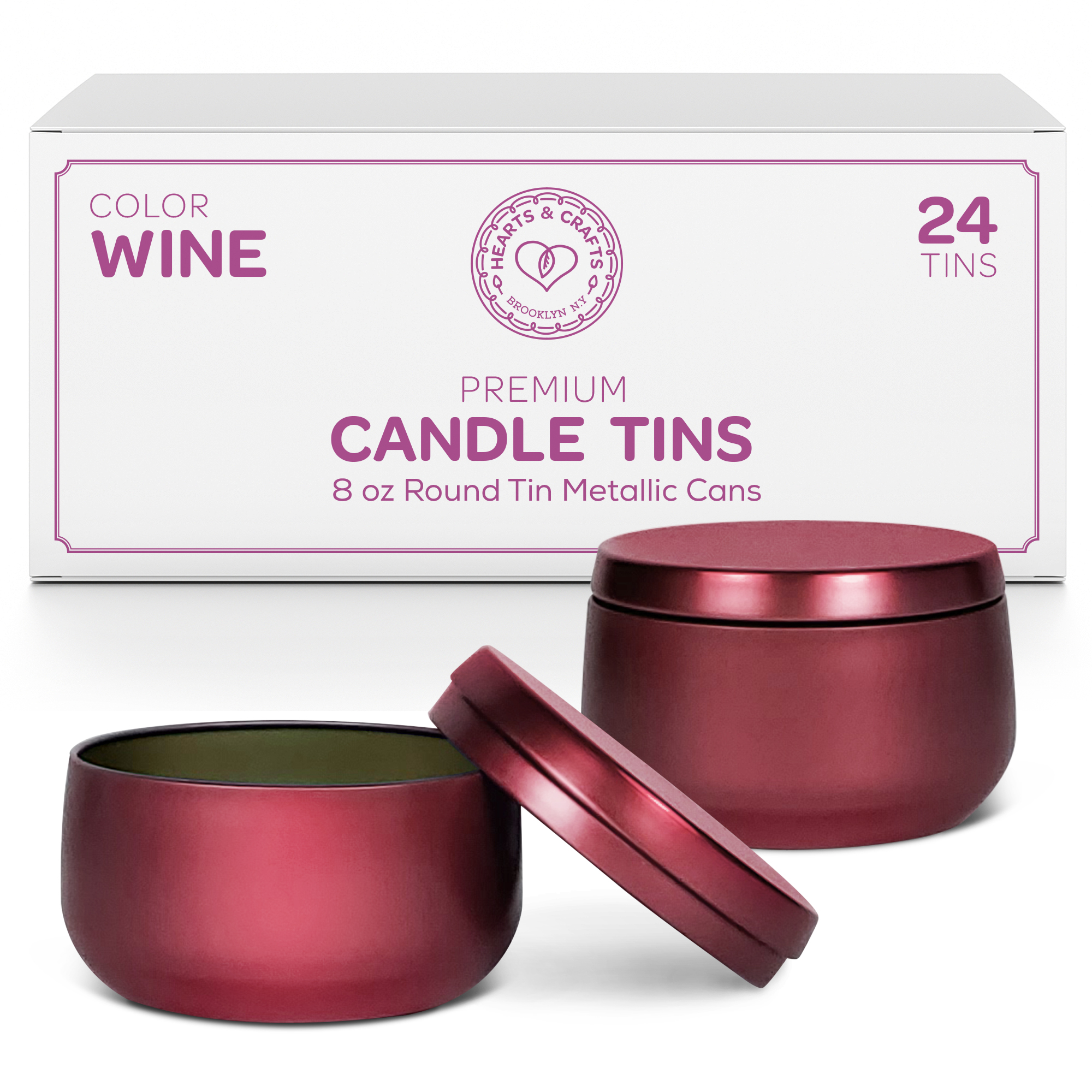 8oz Wine Candle Tins – 24 Count