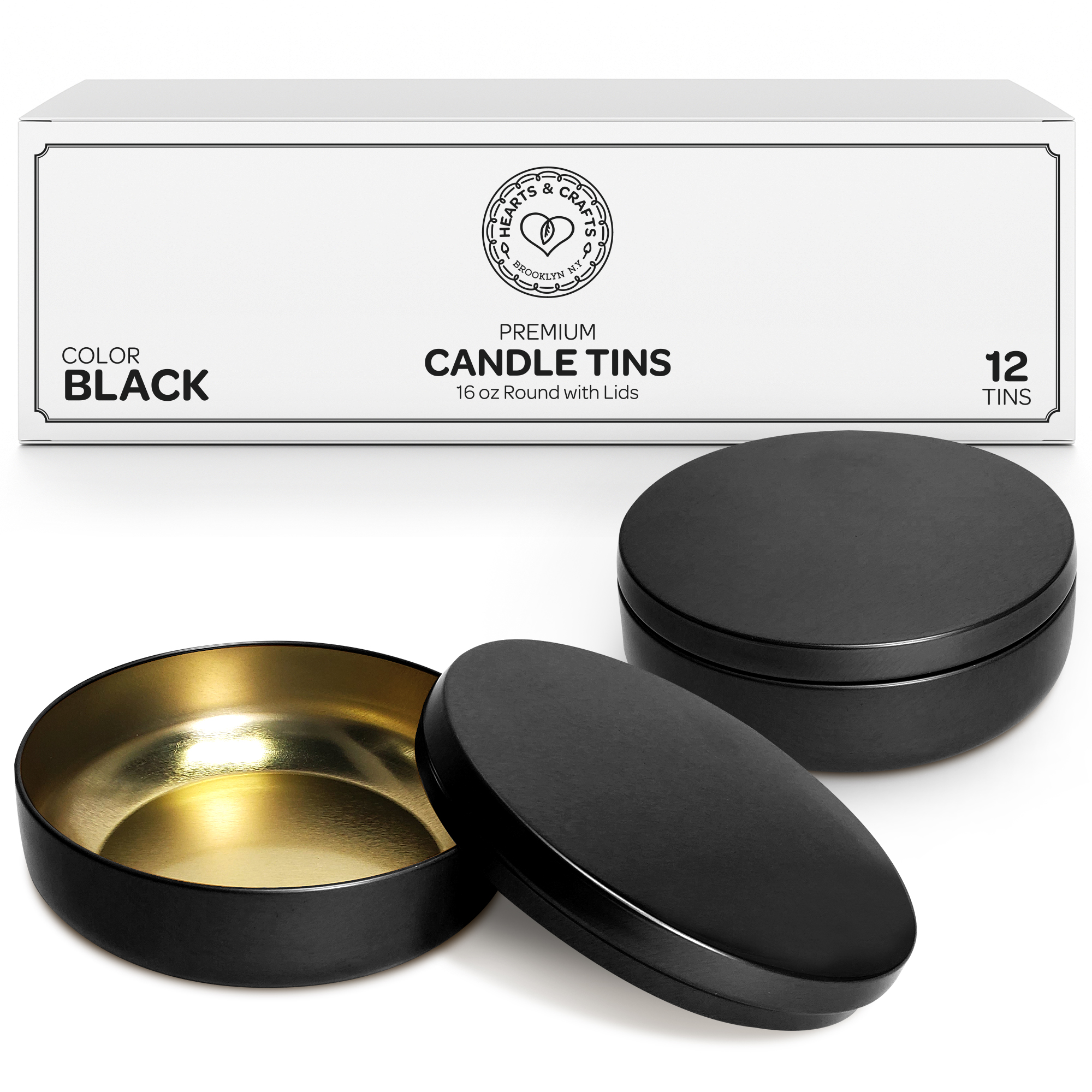 16oz Black Candle Tins – 12 Count