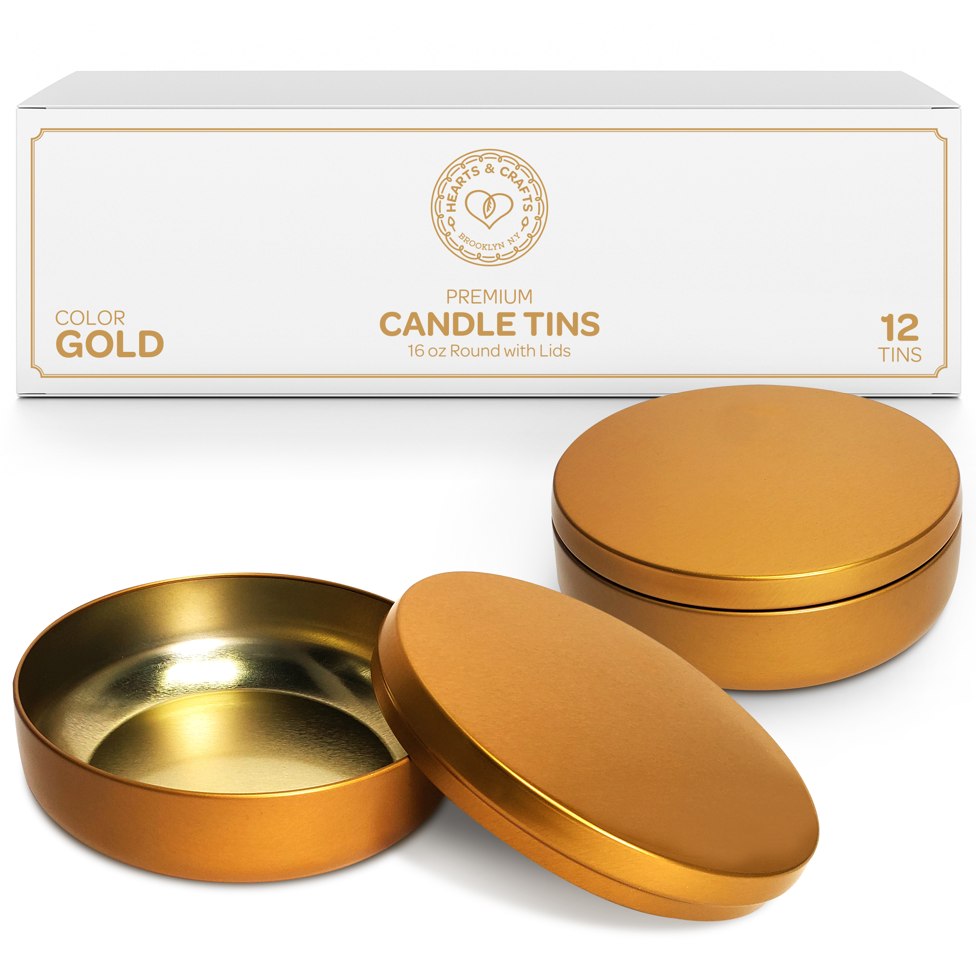 16oz Gold Candle Tins – 12 Count