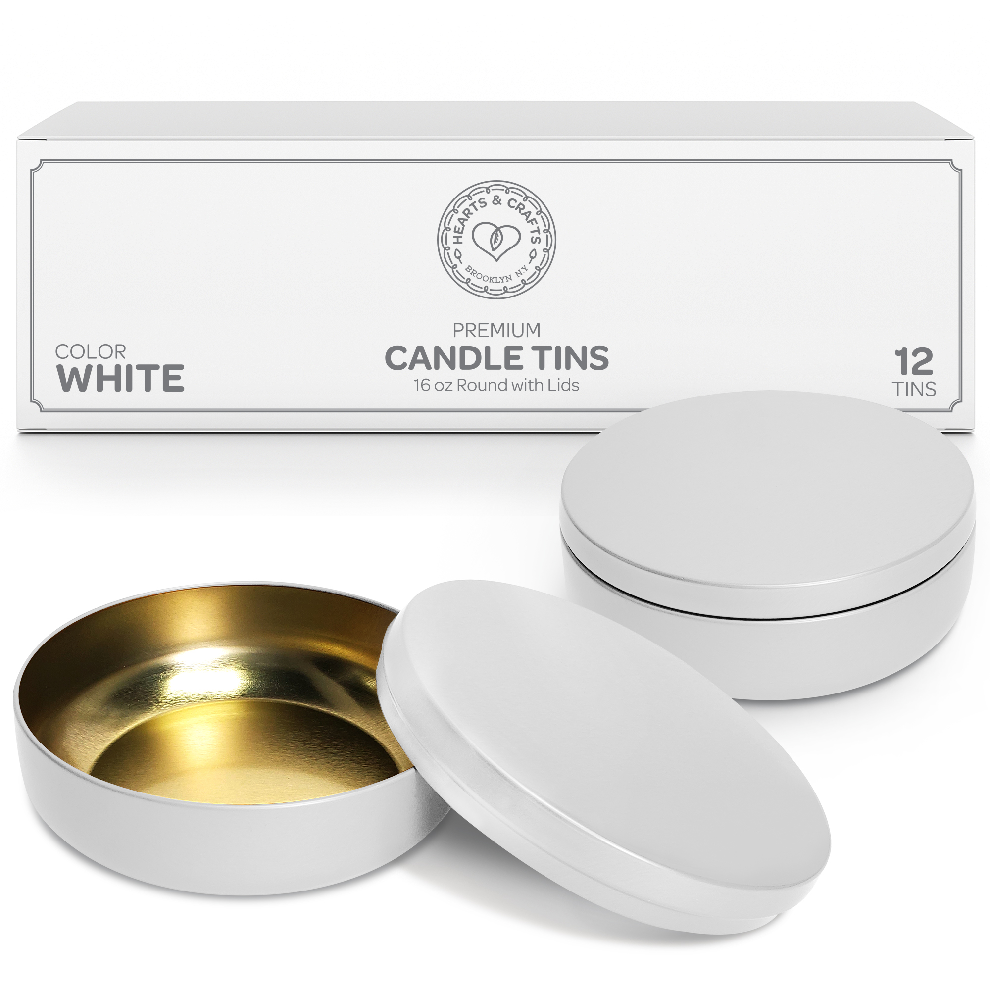 16oz White Candle Tins – 12 Count