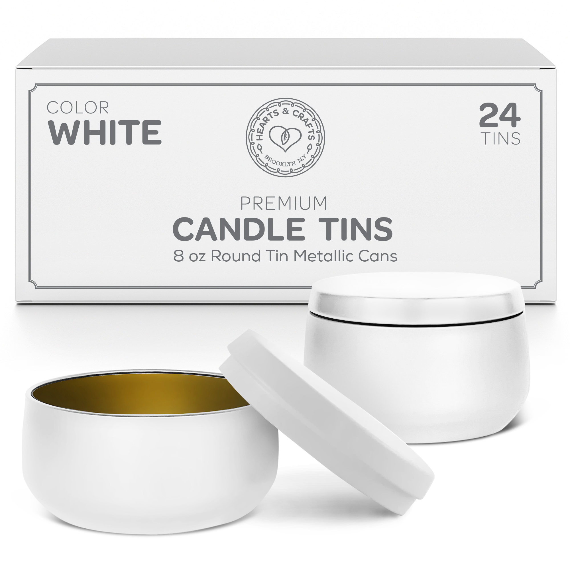8oz White Candle Tins – 24 Count