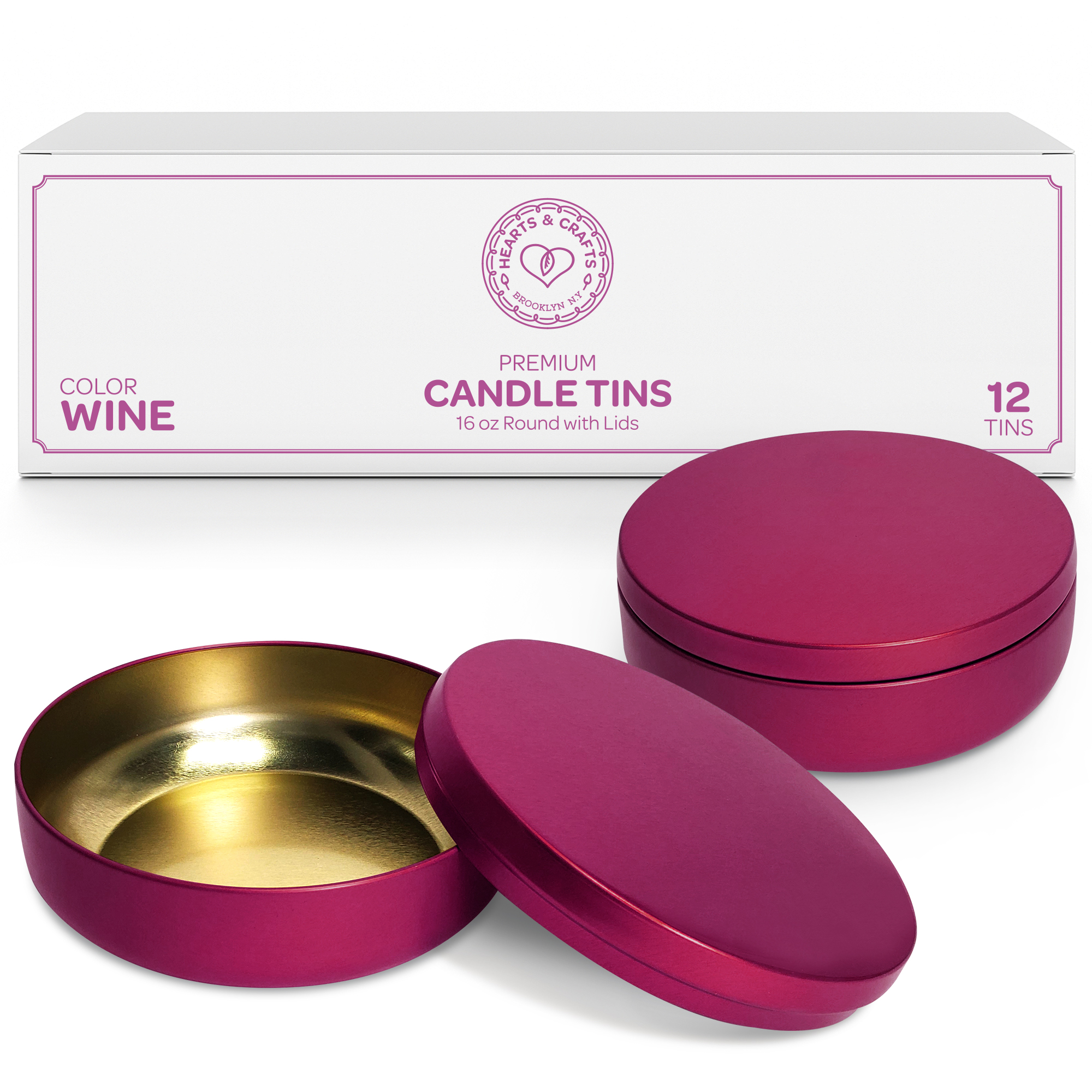 16oz Wine Candle Tins – 12 Count