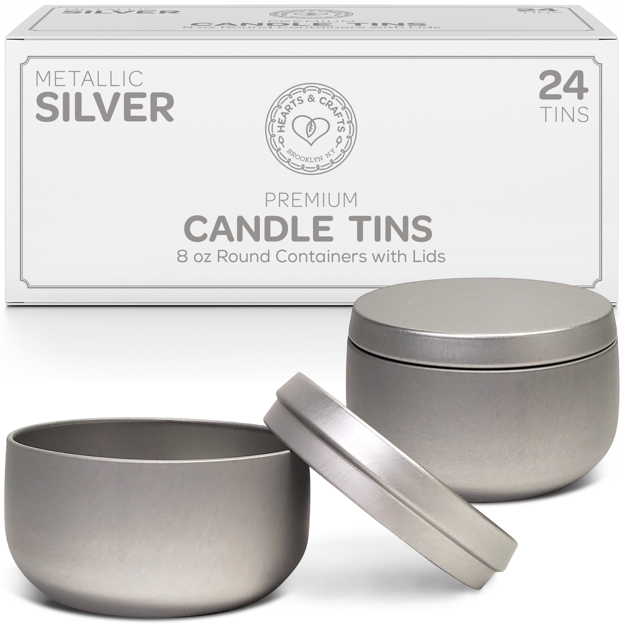 8oz Silver Candle Tins –  24 Count