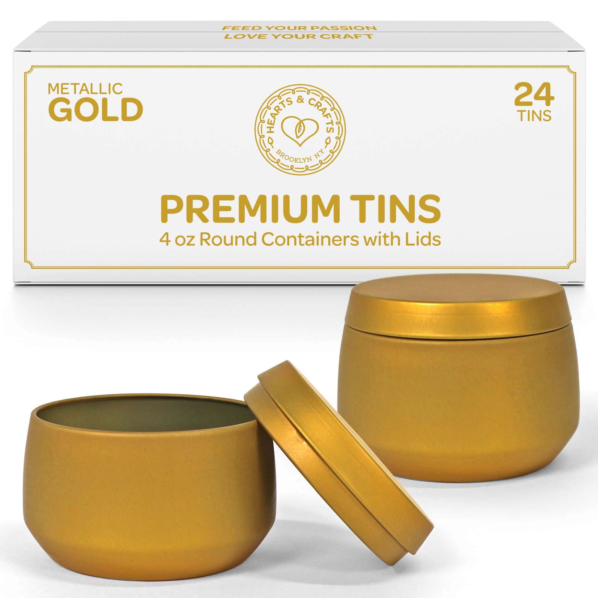 4oz Gold Candle Tins –  24 Count