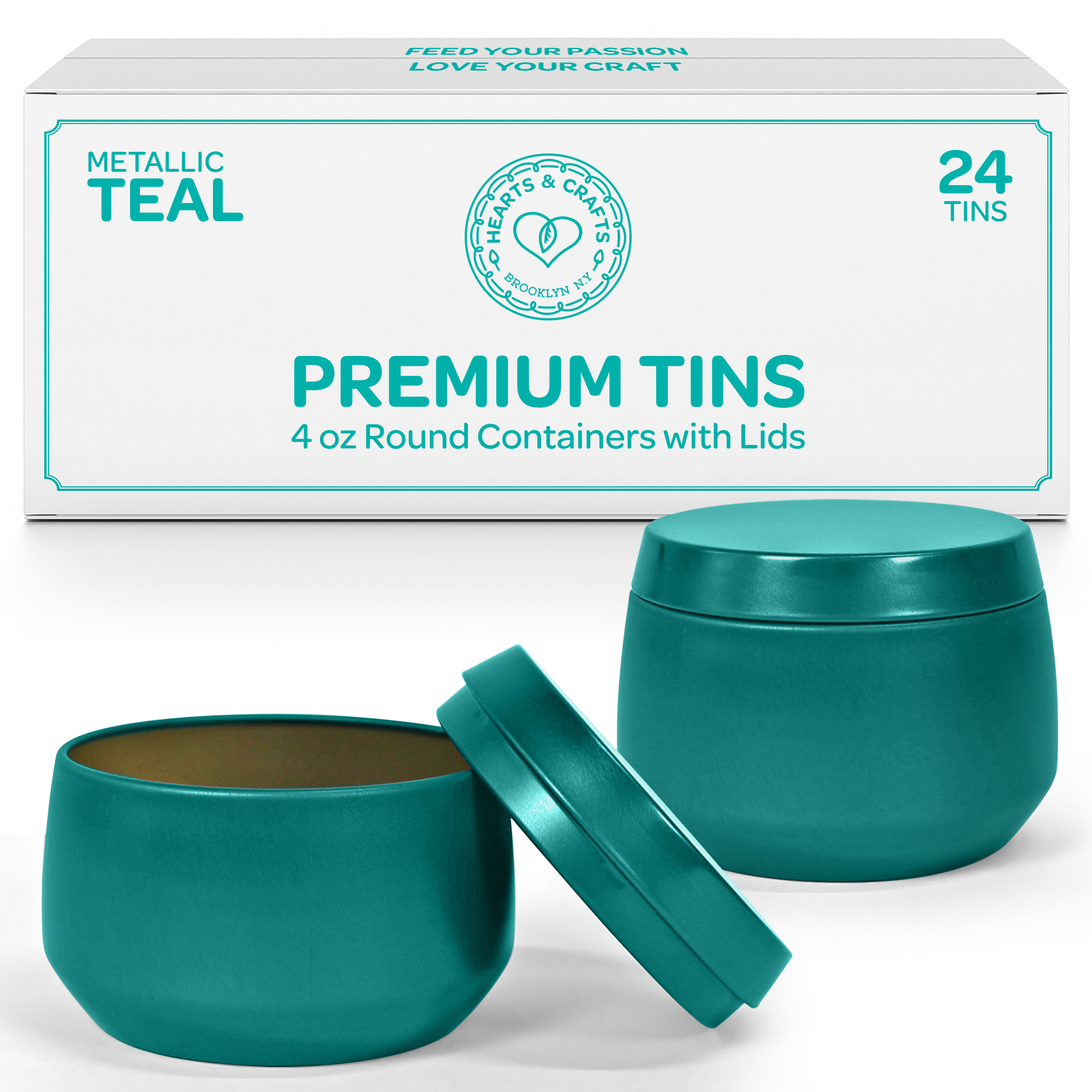 4oz Teal Candle Tins, 24 Count