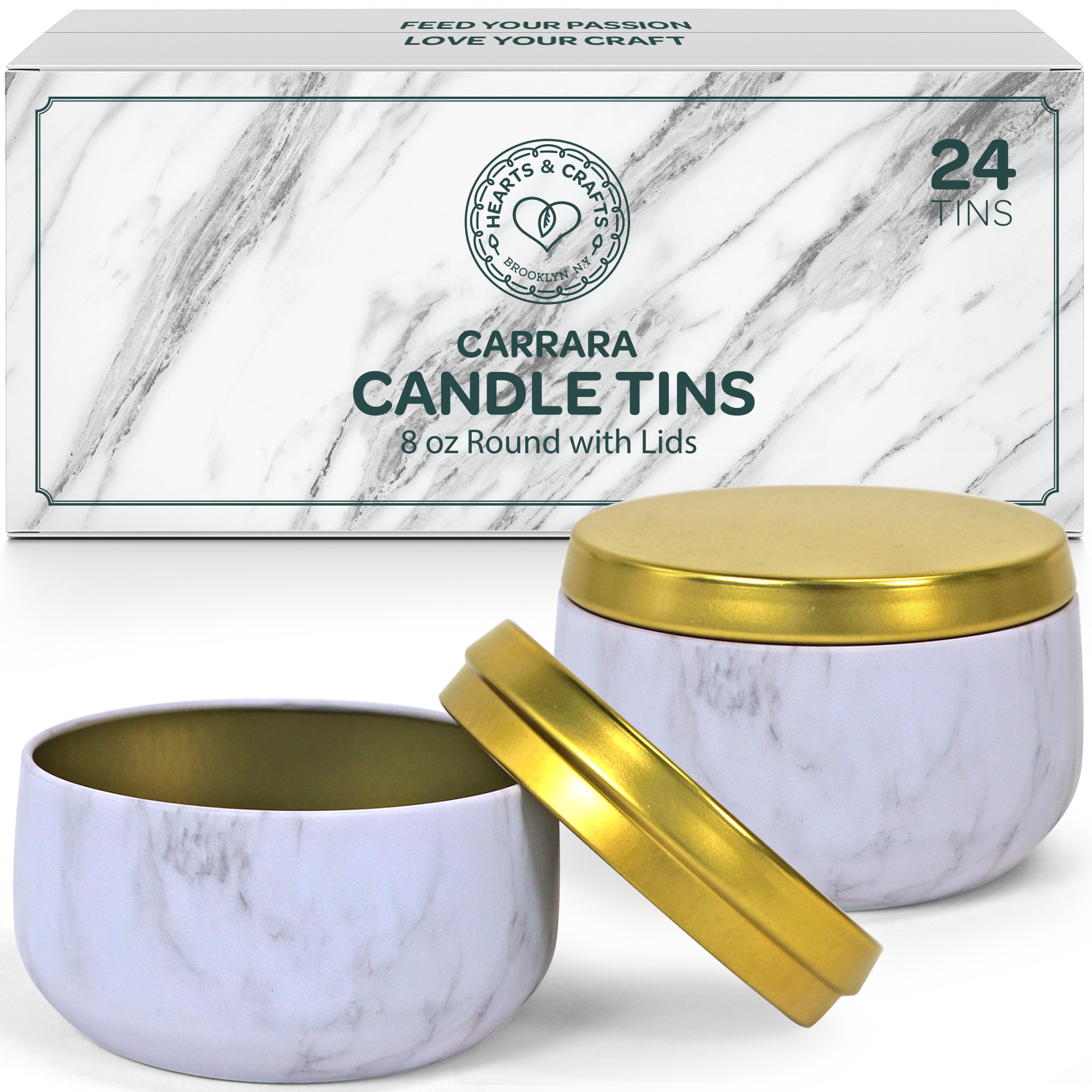 8oz Marble Candle Tins, 24 Count