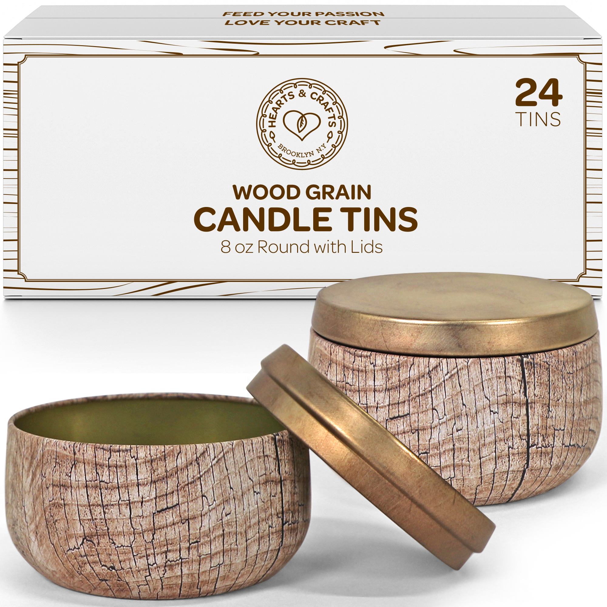 8oz Wood Grain Candle Tins, 24 Count