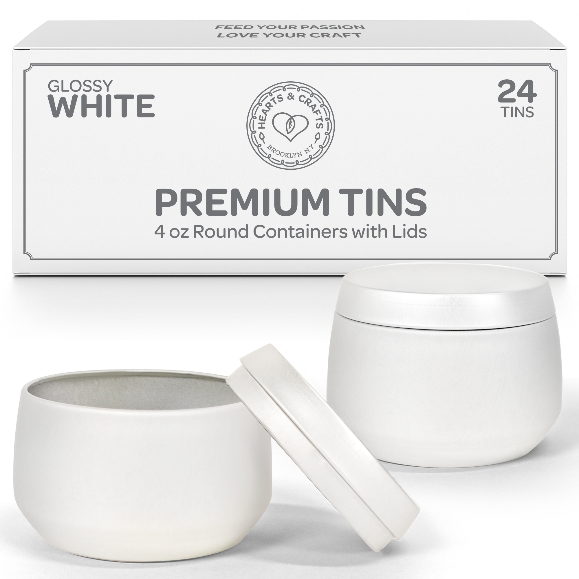 4oz White Candle Tins, 24 Count