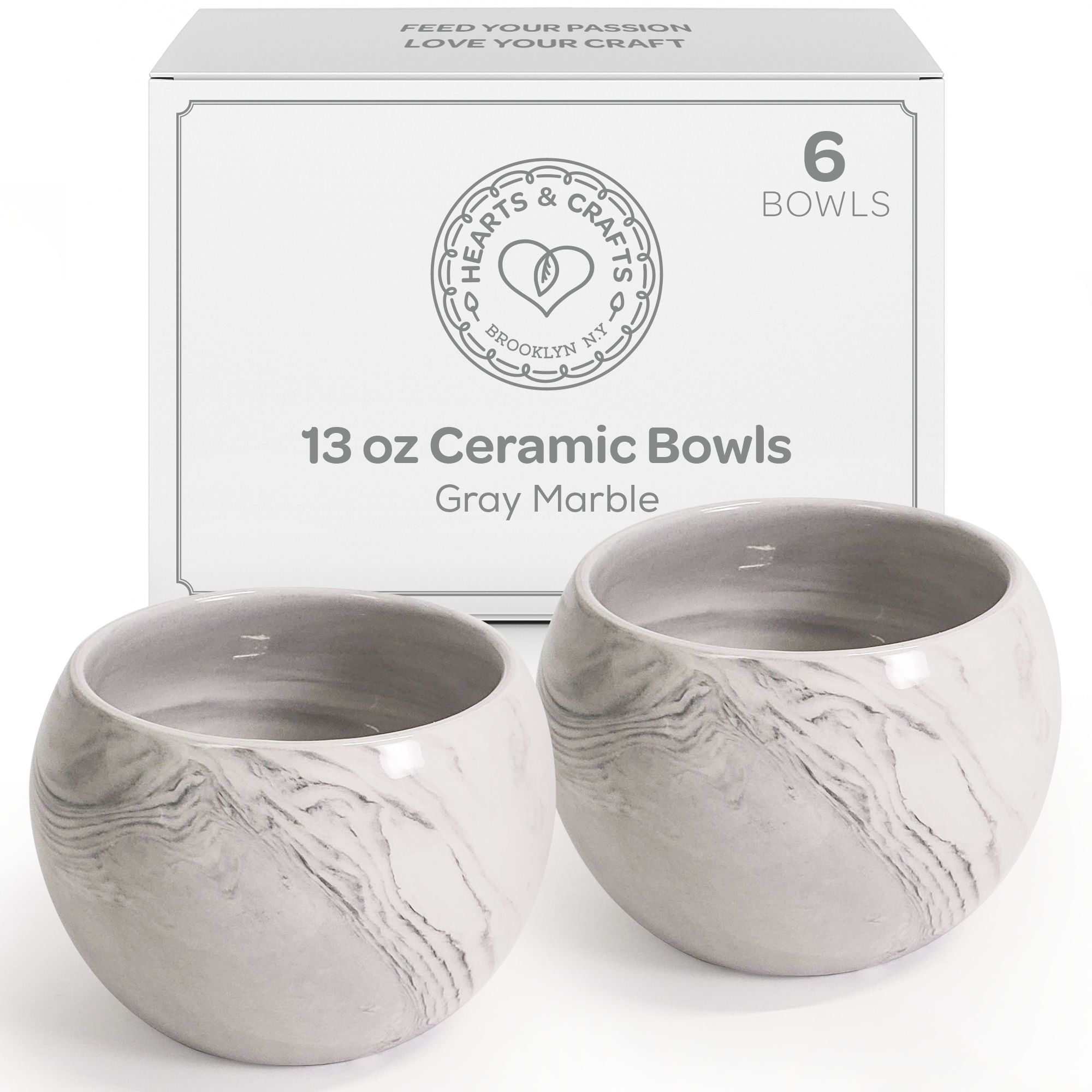 13oz Gray Marble Ceramic Containers – Set of 6