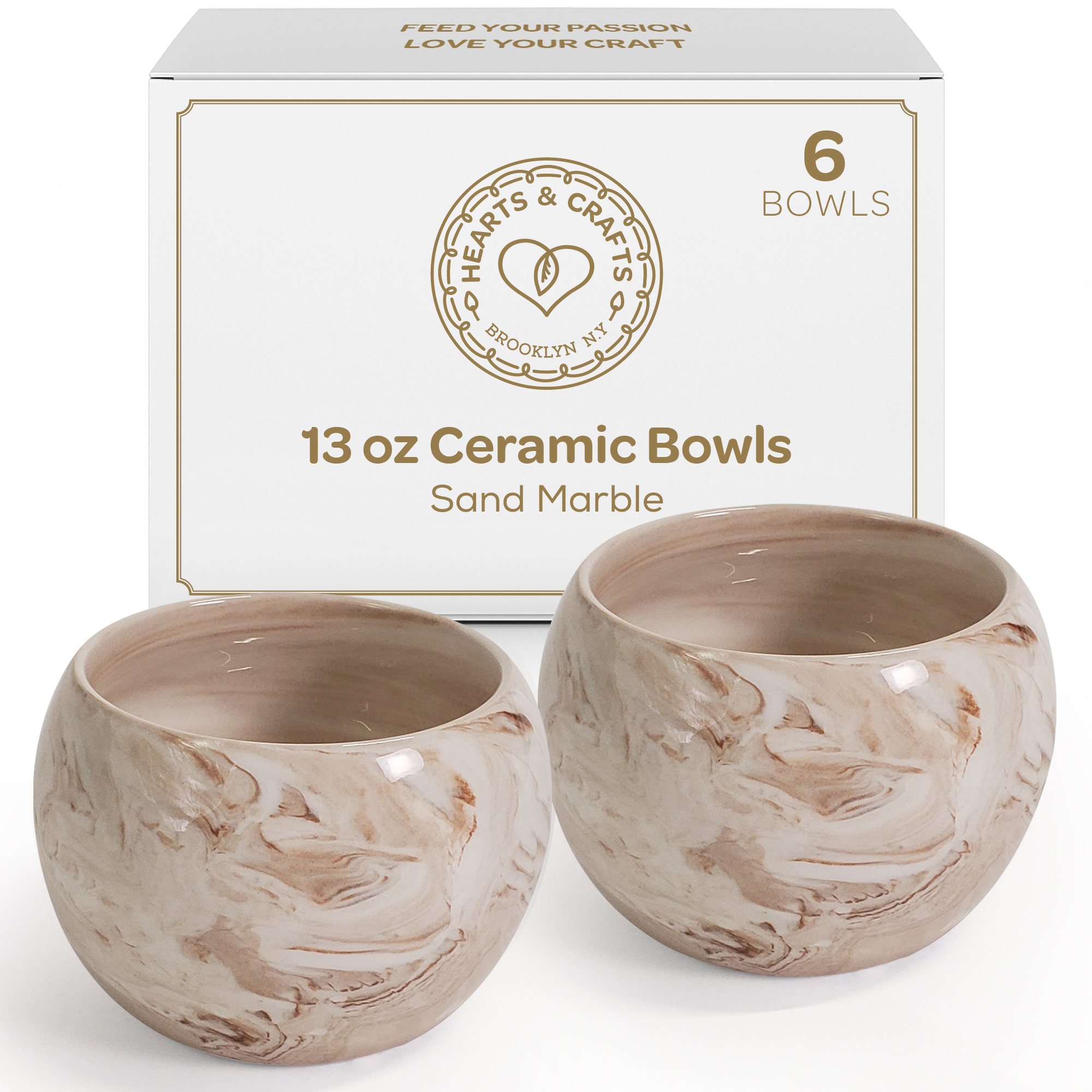 13oz Sand Marble Ceramic Containers – Set of 6