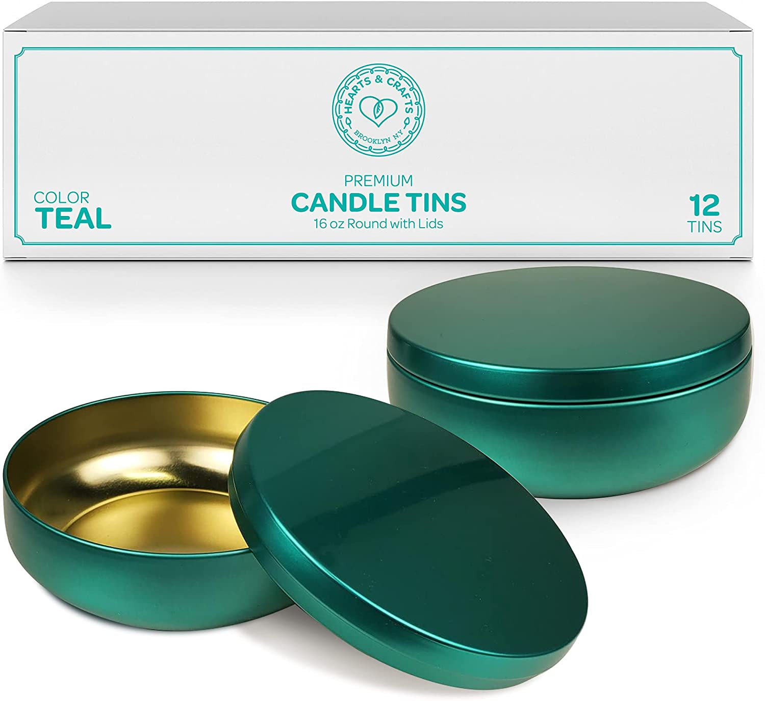 16oz Teal Candle Tins – 12 Count