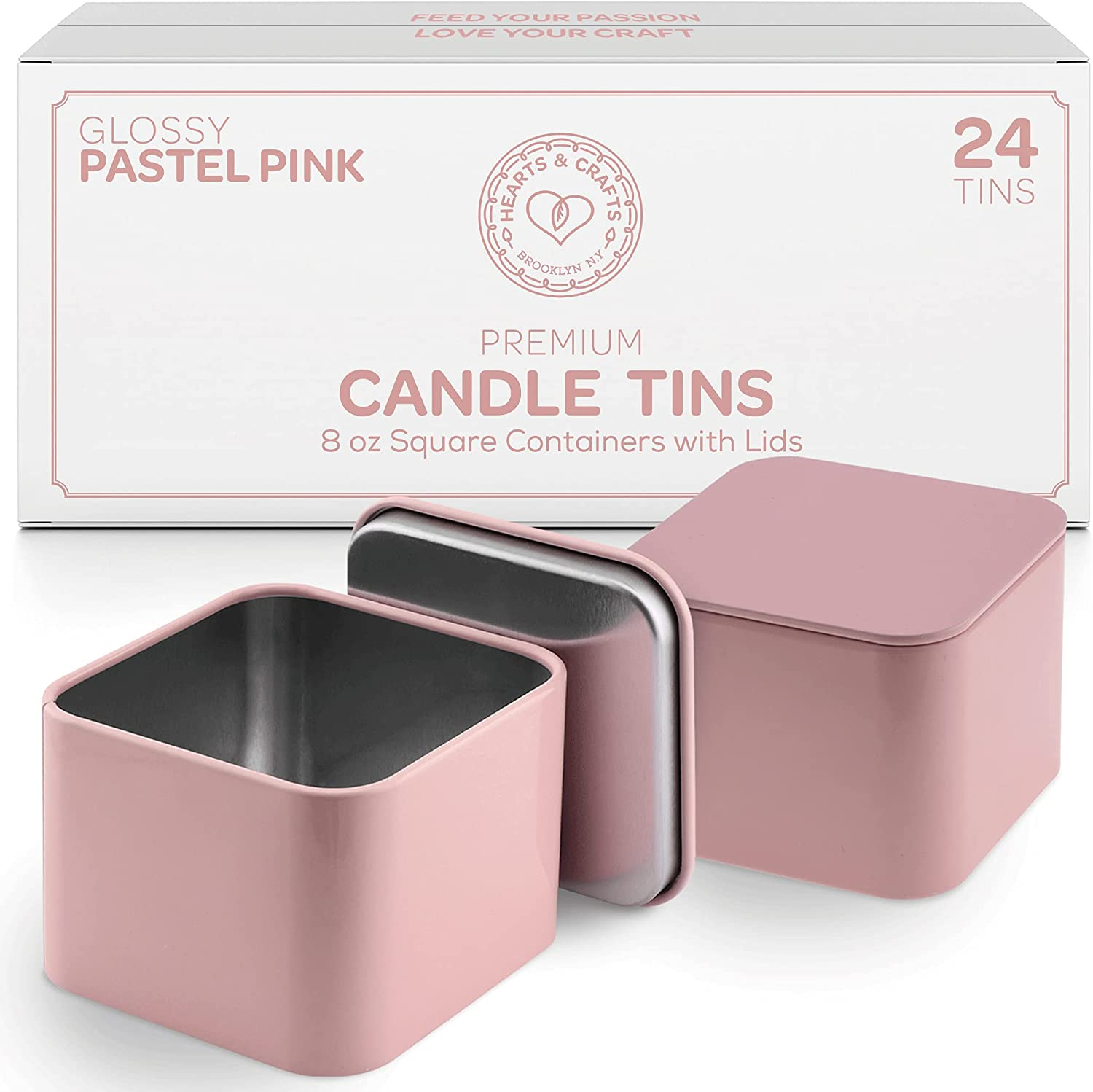 8oz Pastel Pink Tin Cans with Seam – 24 Count