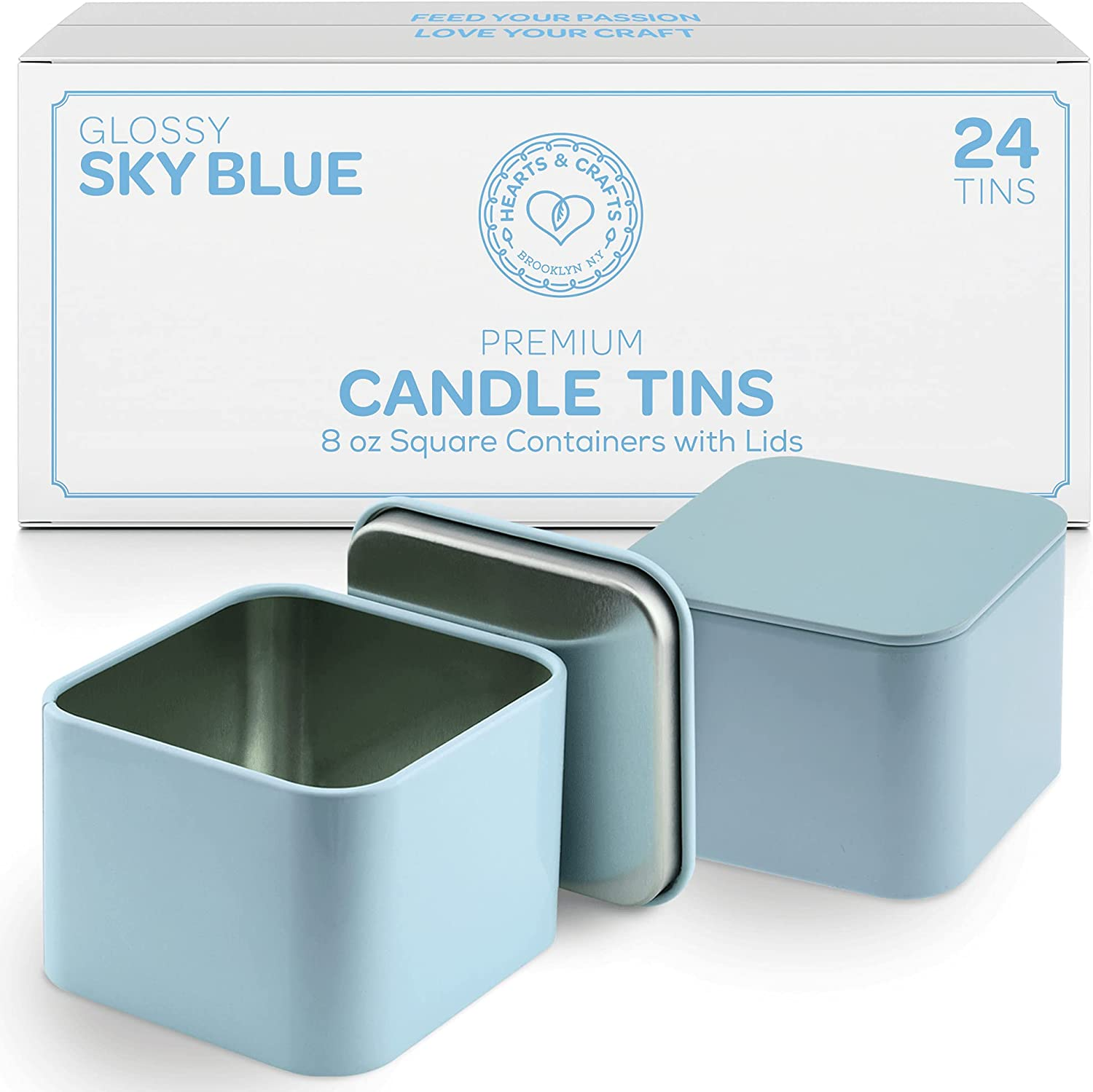8-oz. Sky Blue Square Tin Cans with Seam, 24-Pack