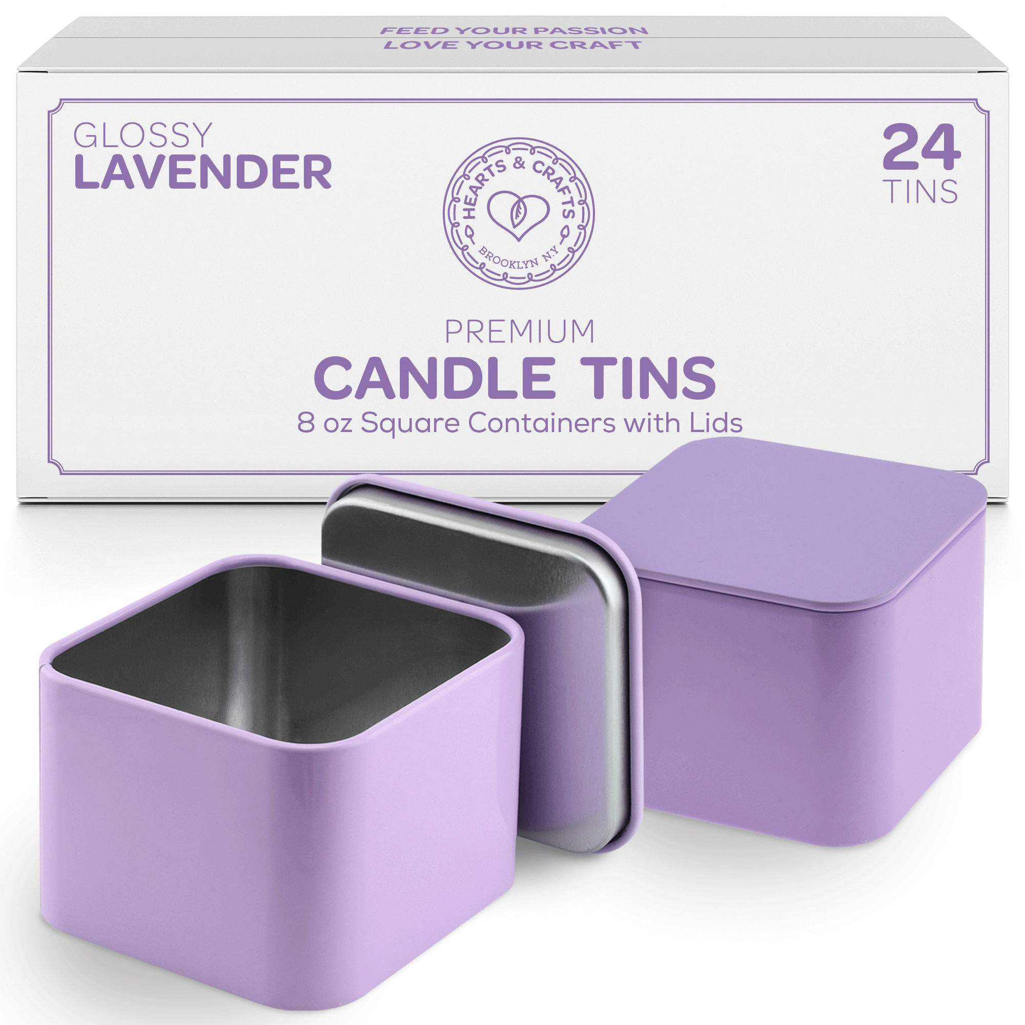 8oz Lavender Tin Cans with Seam – 24 Count