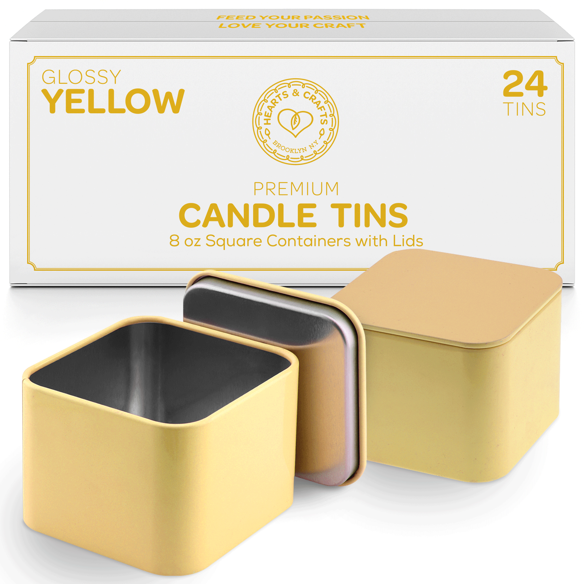 8-oz. Yellow Square Tin Cans with Seam, 24-Pack