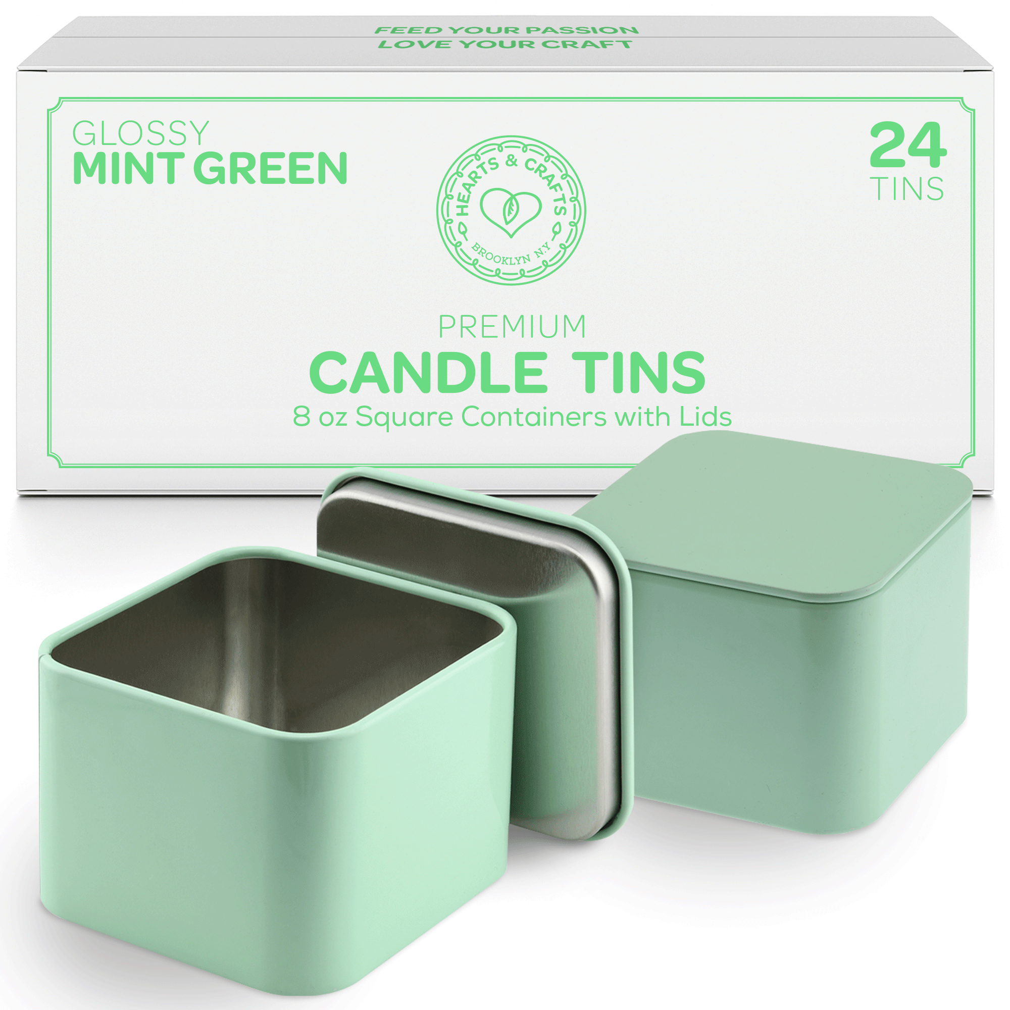 8oz Pastel Mint Tin Cans with Seam – 24 Count